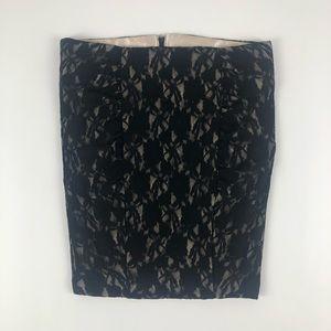 Stooshy Black Lace Ruched Mini Pencil Skirt